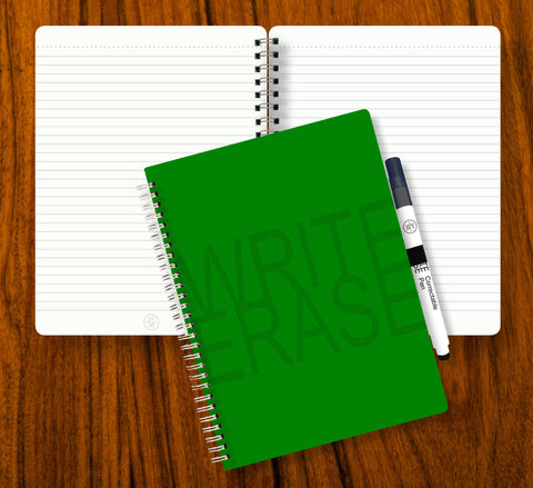 Write Erase Re-Usable Notebook – GREEN