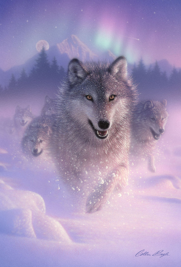 SKU : 20380 - Northern Lights Wolf - 3D Postcard