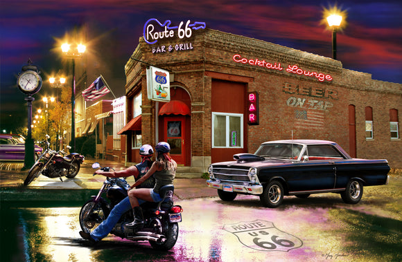 SKU : 20386 - Bar & Grill Cars - 3D Postcard