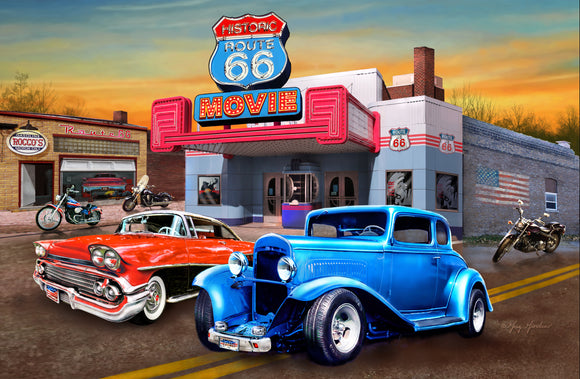 SKU : 20387 - Movie Theater Cars - 3D Postcard