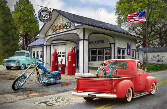SKU : 20388 - Gas Station Cars - 3D Postcard