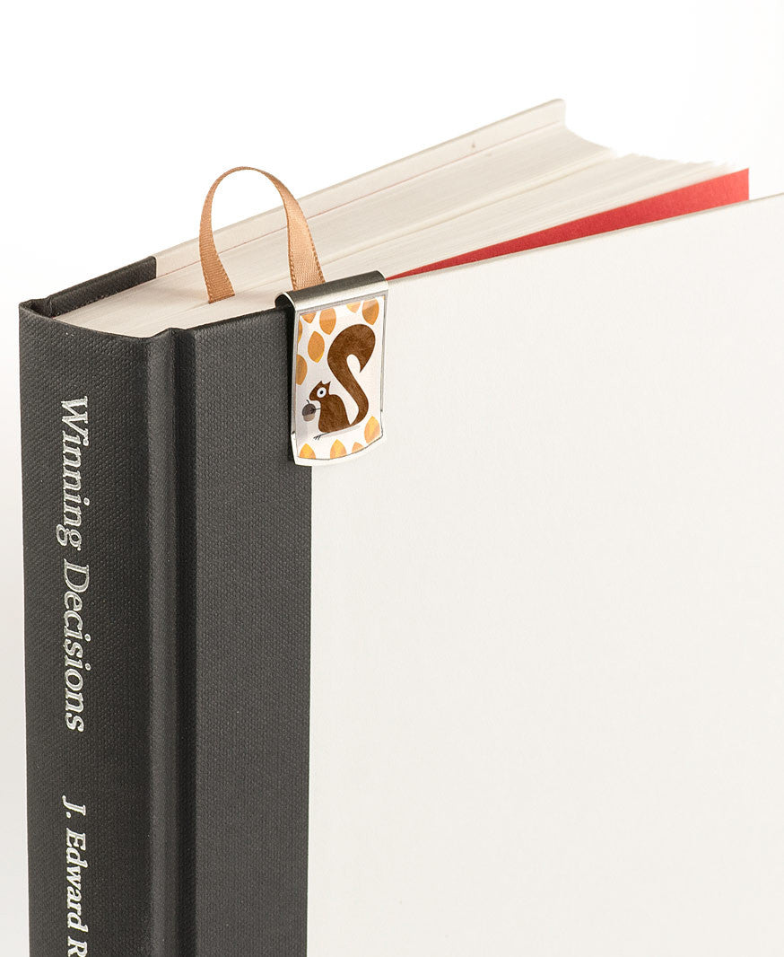 Squirrel Bookmark on book