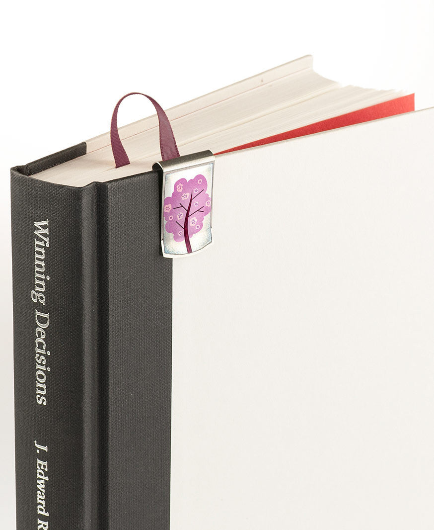 Cherry Blossoms Bookmark on book