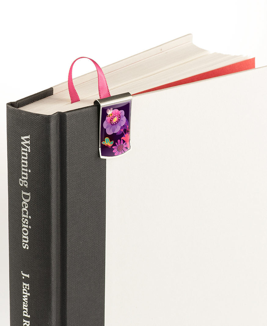 Night Flower Garden Bookmark on book