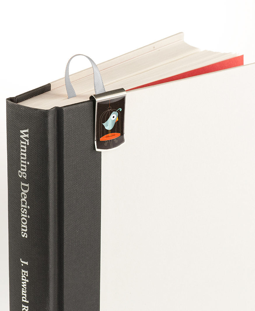 Bird Themed Bookmark on book