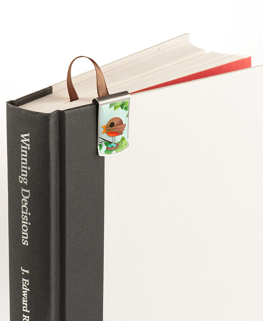 Robin's Nest Bookmark on book