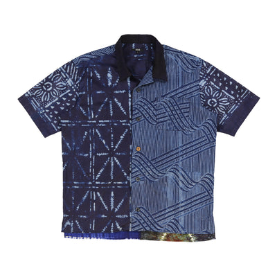 Multipatchwork S/S Shirt (Indigo Navy Collar)