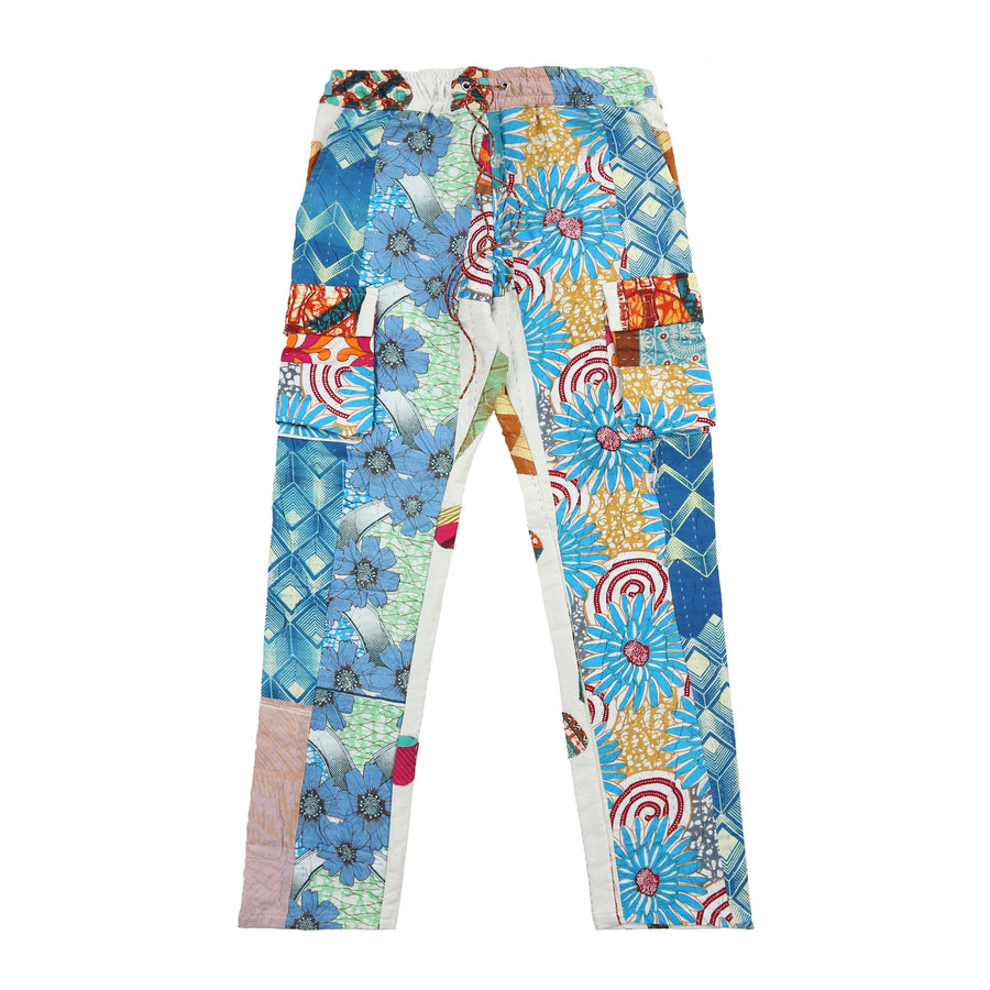 Harun Quilt Cargo Pants (Blue Flower)