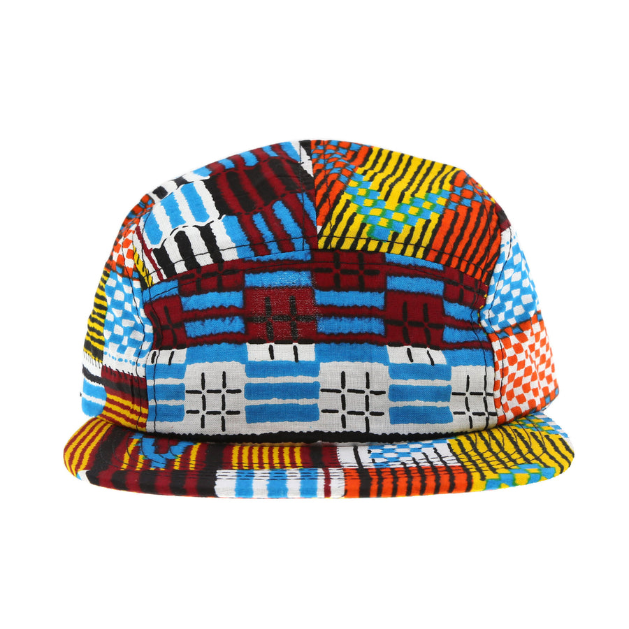 African Wax Camper Hat (Electric Kente)