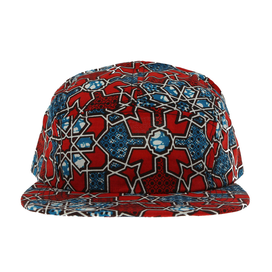 African Wax Camper Hat (Indigo Red)