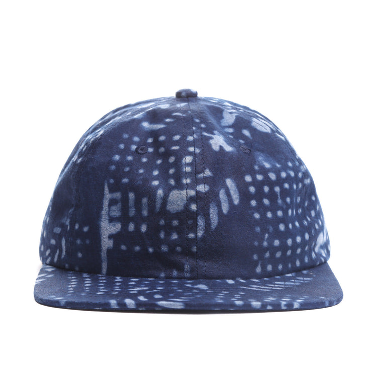 Indigo Leaf Pattern 6 panel Hat