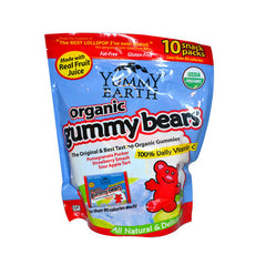 Yummy Earth Organic Gummy Bears Snack Packs - Pack of 10 - .9 oz