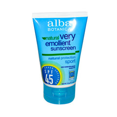 Alba Botanical Very Emollient Sunscreen Natural Protection Sport SPF 45 - 4 oz