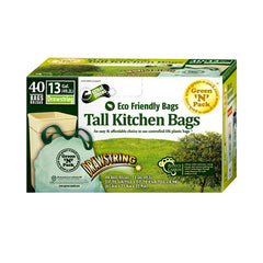 Eco-Friendly Bags Tall Kitchen Trash Bags - 13 Gallon - 40 Pack