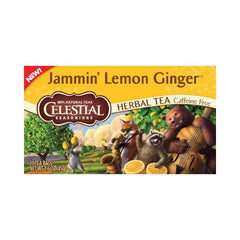Celestial Seasonings Herbal Tea - Jammin' Lemon Ginger - Caffeine Free - Case of 6 - 20 Bags