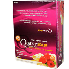 Quest Protein Bars - White Chocolate Raspberry - 2.12 oz - Case of 12