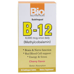 Bio Nutrition B12 Sublingual - 6000 mcg - 50 Tablets