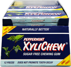 XyliChew Chewing Gum Counter Display - Sugar Free Peppermint - 12 Piece Sleeve - Case of 12