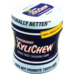 XyliChew Chewing Gum - Sugar Free Peppermint - 60 Piece Jar - Case of 4
