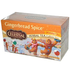Celestial Seasonings Holiday Herbal Tea - Gingerbread Spice - Caffeine Free - Case of 6 - 20 Bags