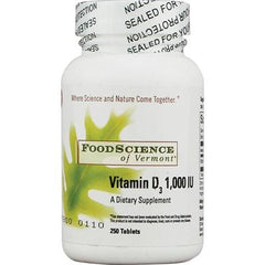 FoodScience of Vermont Vitamin D3 - 1000 IU - 250 Tablets