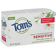 Tom's of Maine Natural Beauty Bar Sensitive Unscented - 4 oz - Case of 6