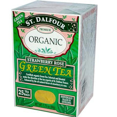 St. Dalfour Organic Strawberry Rose Green Tea Strawberry Rose - 25 Tea Bags - Case of 6