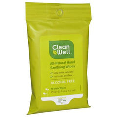 CleanWell All-Natural Hand Sanitizing Wipes Pocket Pack - 10 Wipes - Case of 8