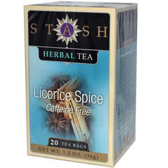 Stash Tea Company Premium Licorice Spice Herbal Tea Caffeine Free - Case of 6 - 20 Bag