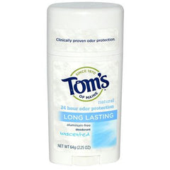 Tom's of Maine Natural Long-Lasting Deodorant Stick Unscented - 2.25 oz Each - Case of 6