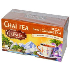Celestial Seasonings Chai Tea - Sweet Coconut Thai - Decaffeinated - Case of 6 - 20 Bags