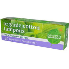 Seventh Generation Chlorine Free Organic Cotton Tampons - Super Plus - 20 Tampons - Case of 12