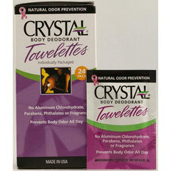 Crystal Body Deodorant Towelettes - 24 Towelettes