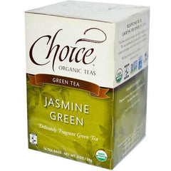 Choice Organic Teas Organic Jasmine Green Tea - 16 Tea Bags - Case of 6