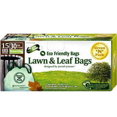Eco-Friendly Bags Lawn and Leaf Trash Bags - 30 Gallon - 15 Pack