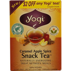Yogi Snack Tea 100% Natural Tea Caramel Apple Spice - 16 Tea Bags - Case of 6