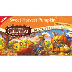 Celestial Seasonings Holiday Black Tea - Sweet Harvest Pumpkin - Case of 6 - 20 Bags