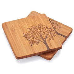 Bambu Coaster with Tree Motif - 4 Pack