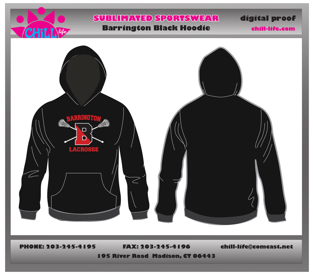 Barrington Lacrosse Performance Fabric Hoodie-Black