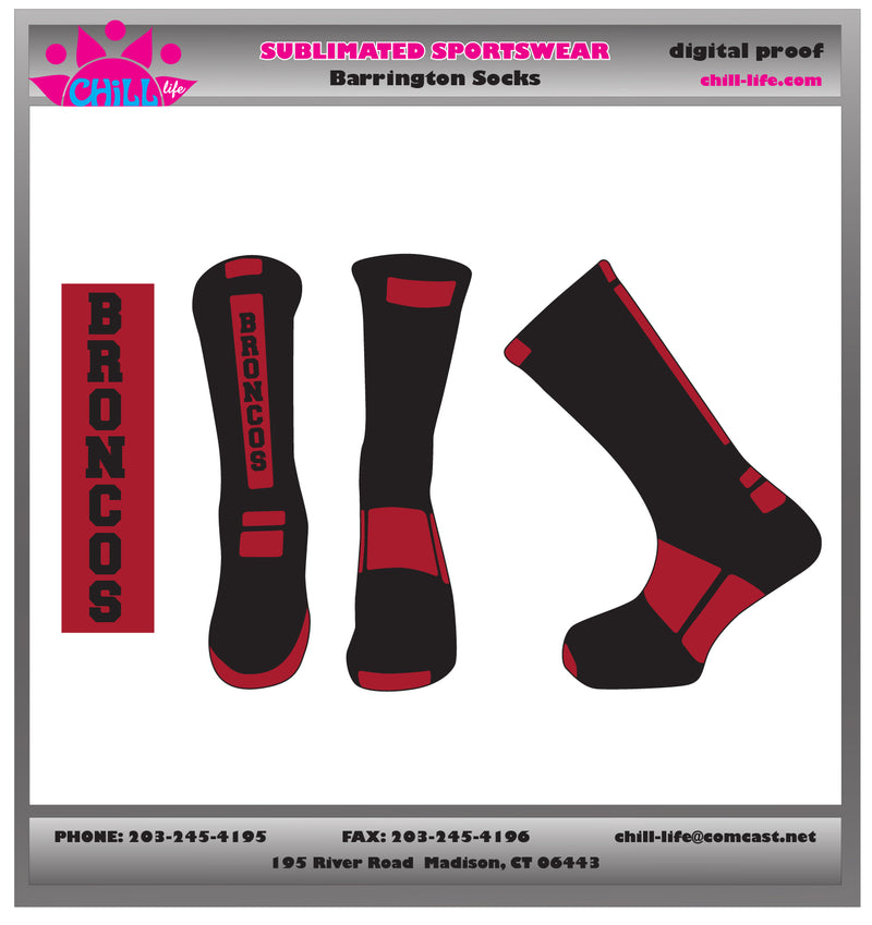 Barrington Lacrosse BRONCOS BLACK crew length socks
