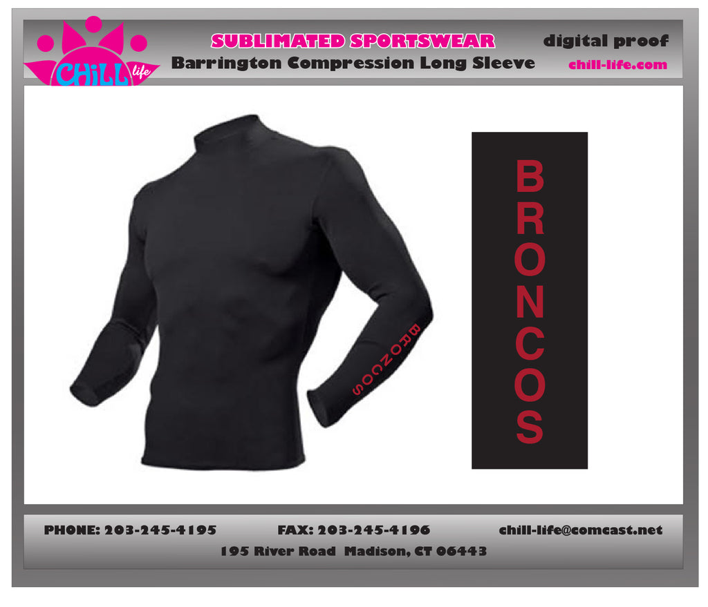 Barrington Lacrosse Long Sleeve Compression Shirt-Black