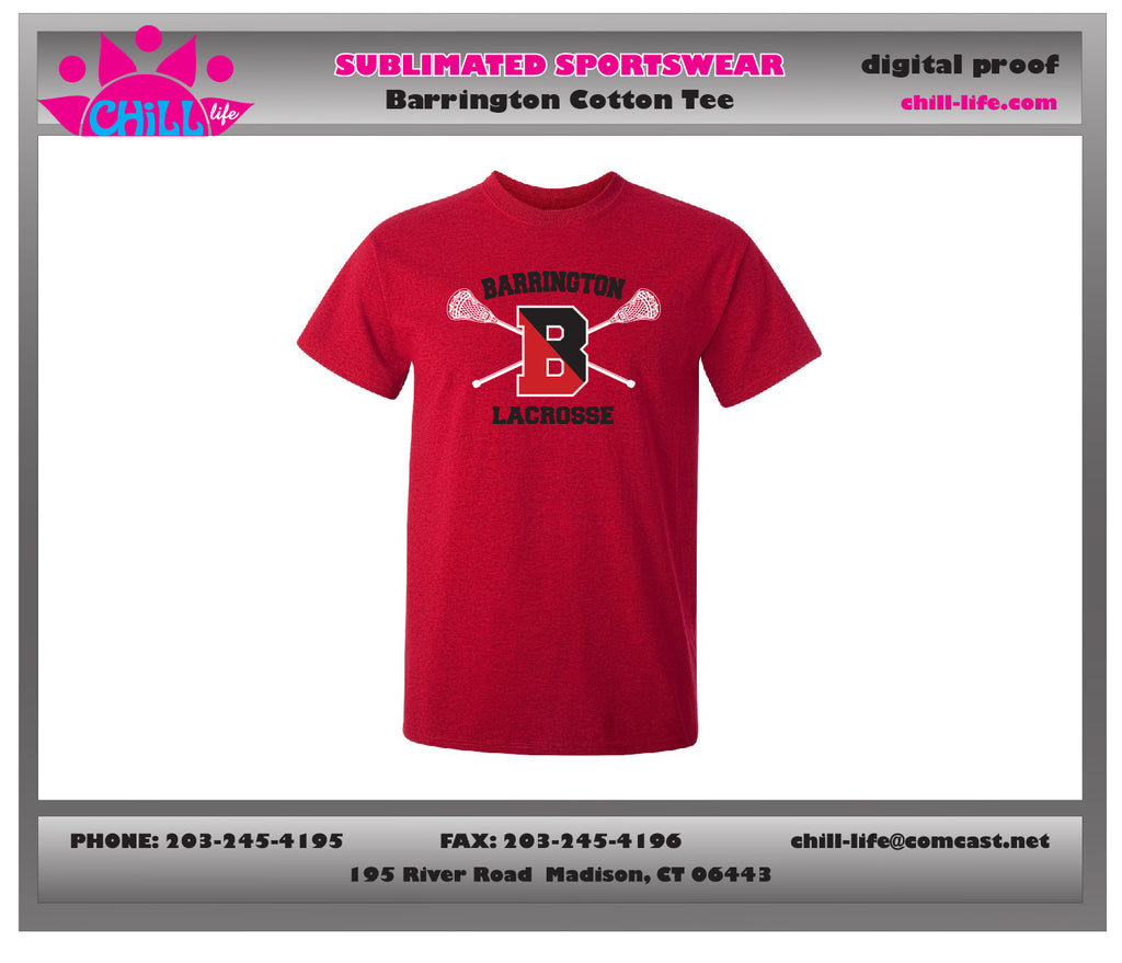 Barrington Lacrosse Red Cotton Tee
