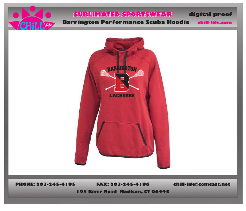 Copy of Barrington Lacrosse Womens'/Girl's Red Performance Hoodie