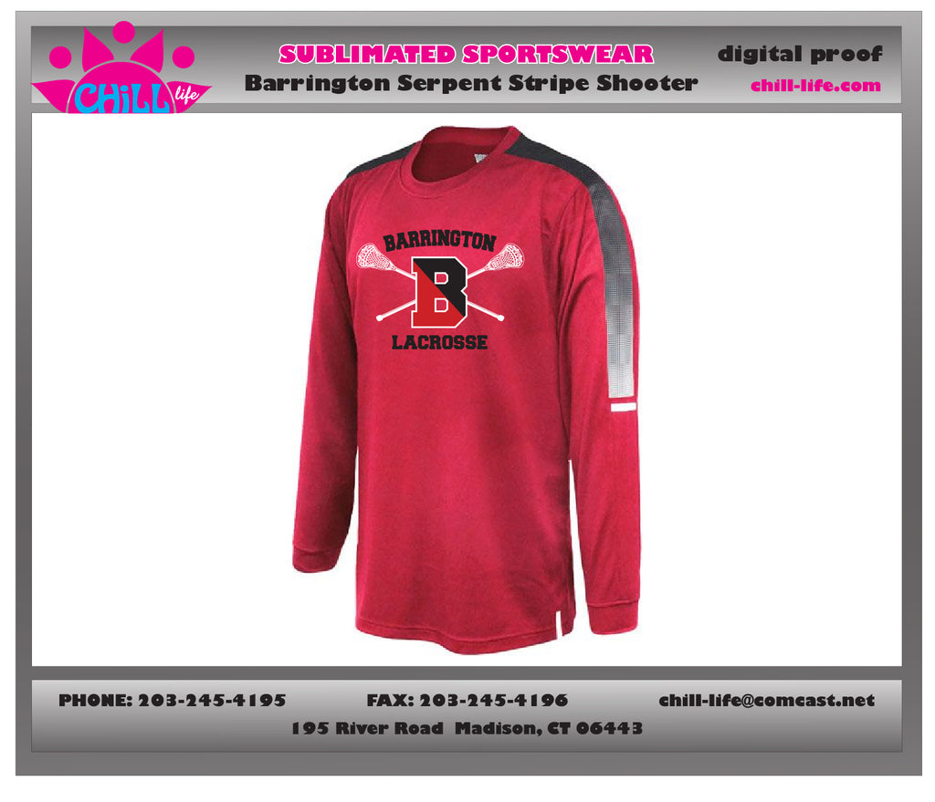 Barrington Lacrosse Red Long Sleeve Serpent Stripe Shooter