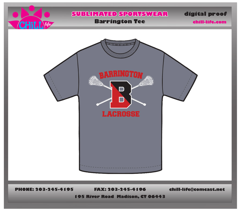 Copy of Barrington Lacrosse Sport Gray Cotton Tee