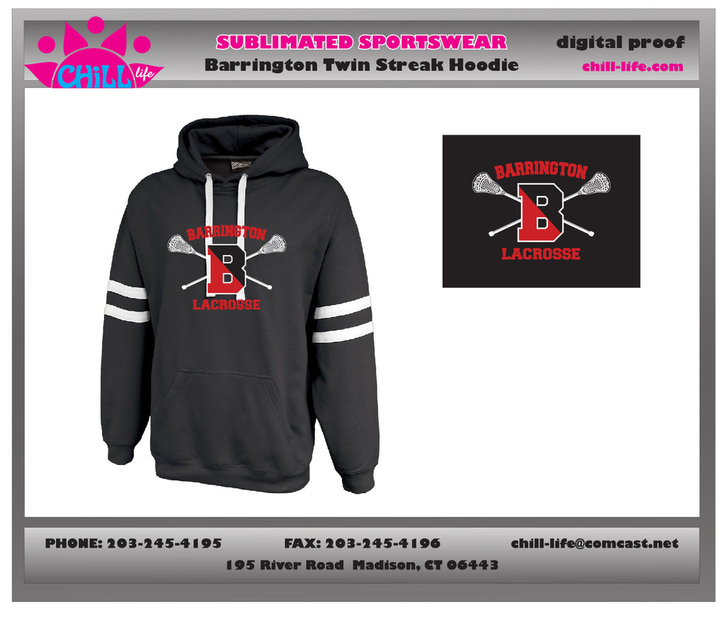 Barrington Lacrosse Twin Streak Hoodie-Cotton