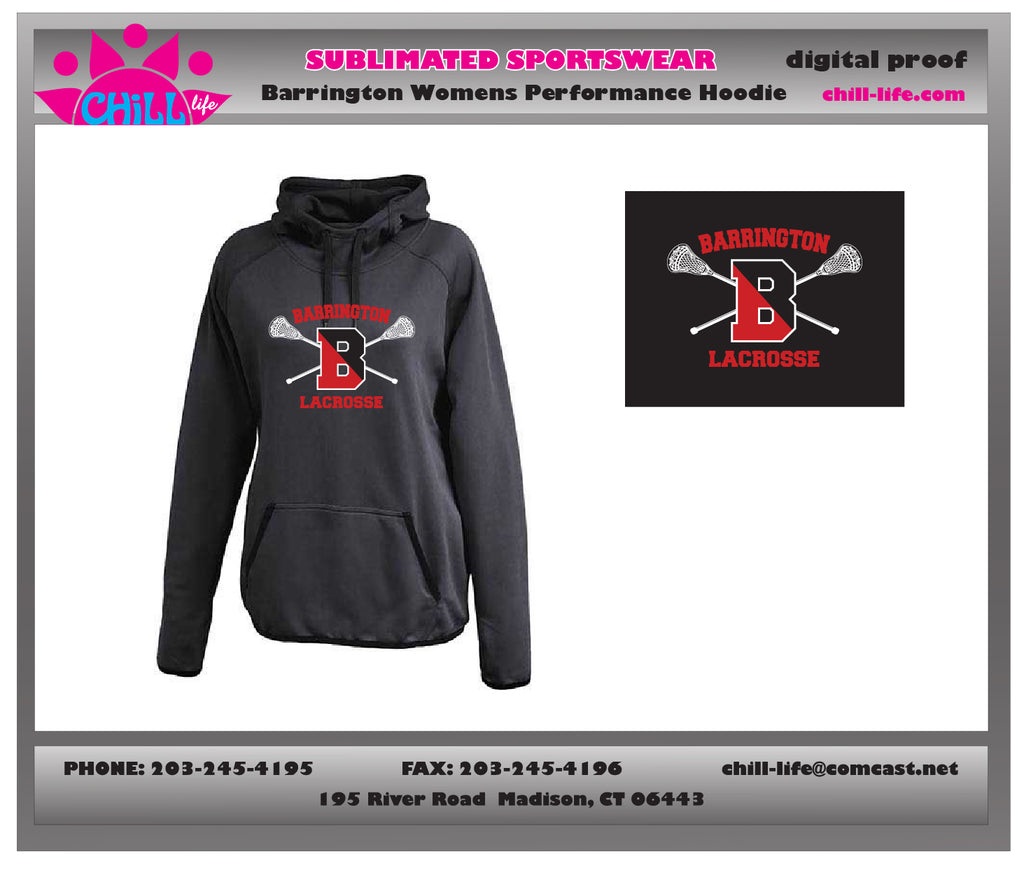 Barrington Lacrosse Womens'/Girl's Black Performance Hoodie