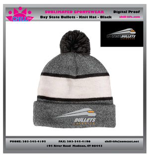 BAY STATE BULLETS Knit cap-black stripe