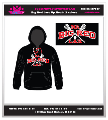 BIg Red Lax Lace Up Hoodie