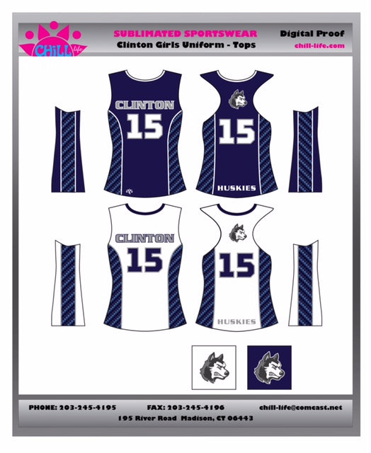 CLINTON GIRLS LACROSSE  REVERSIBLE GAME JERSEY